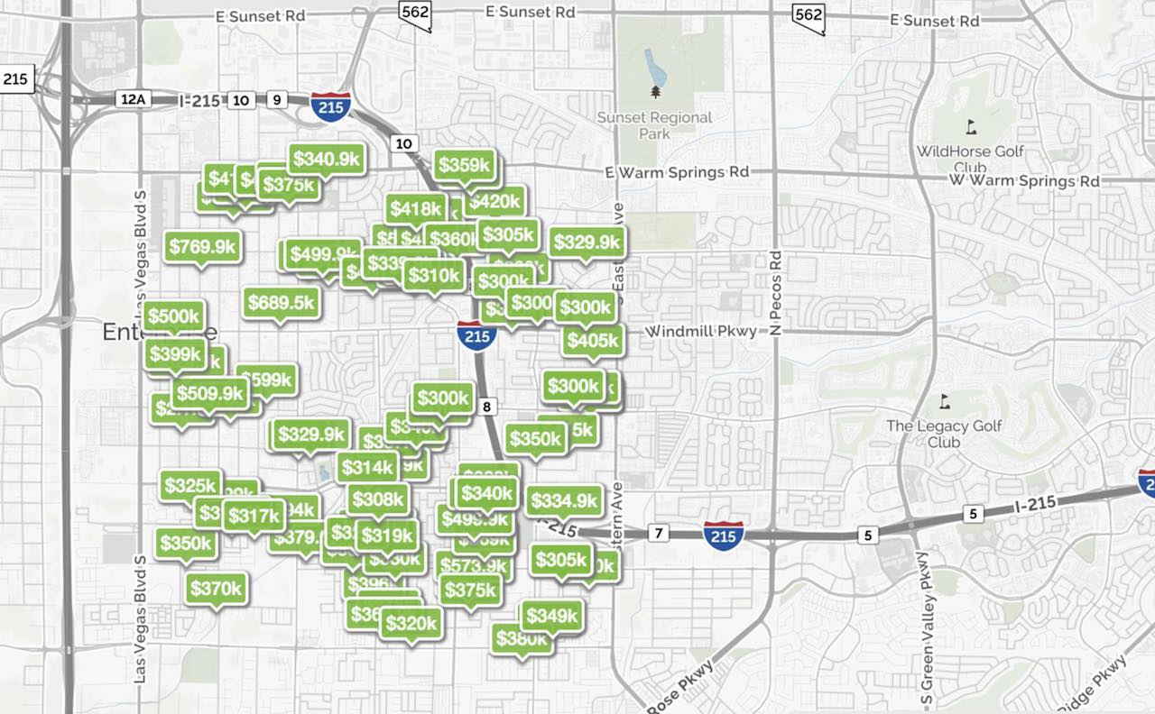 homes are pinned on the 89123 zip code map