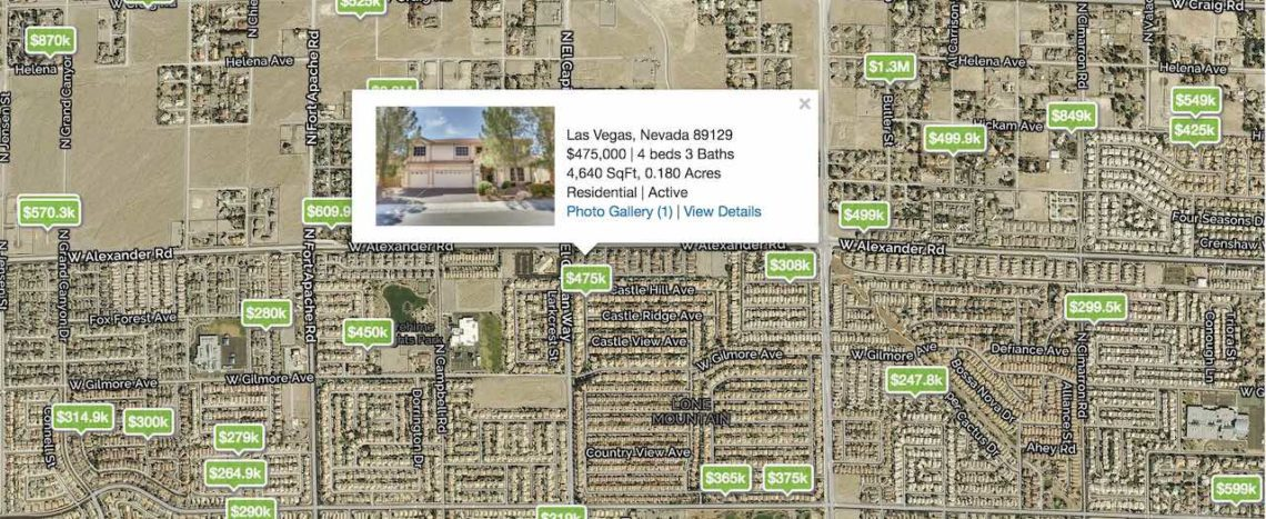 Homes with green price tags are showing on a map of Las Vegas featuring the 89129 Zip Code