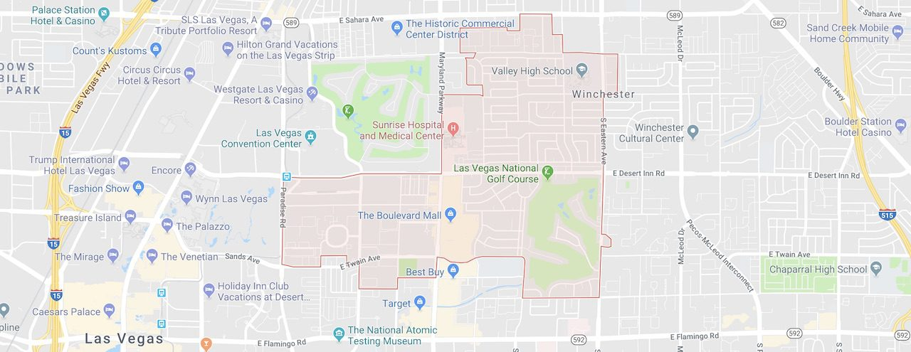 89169 Zip Code is marked out in red boundaries on a Las Vegas City Map showing south las vegas zip codes