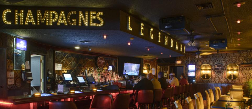Karaoke Bar at Champagnes Cafe Las Vegas, shows tv, bar, gaming, chairs