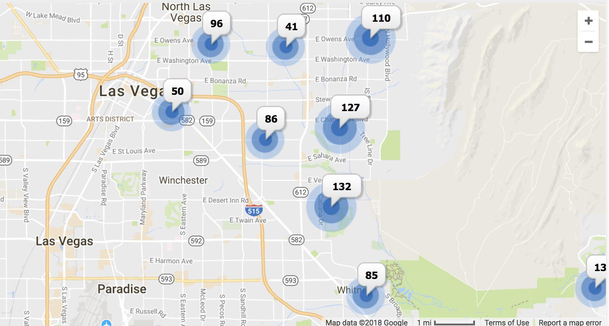 Map of Las Vegas with pins of home listings in East Las Vegas Zip Codes