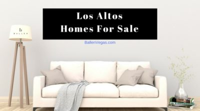 White Couch in a living room with throw pillows and a grey blanket, lamp has the BallenVegas.com Real Estate Logo, and banner reads Los Altos Homes For Sale
