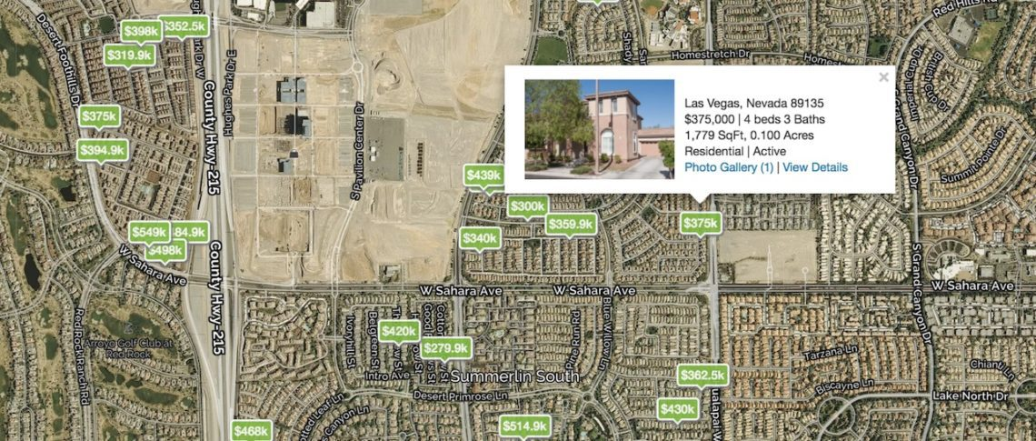 Las Vegas Map with street view, homes are pinned with pricing in the Zip Code 89135