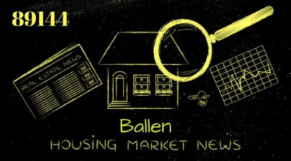 Graph with house, magnifying glass, newspapers and the words 89144, Ballen Housing Market News