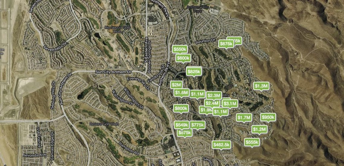 Homes for sale pinned on the map by price in Anthem Country Club