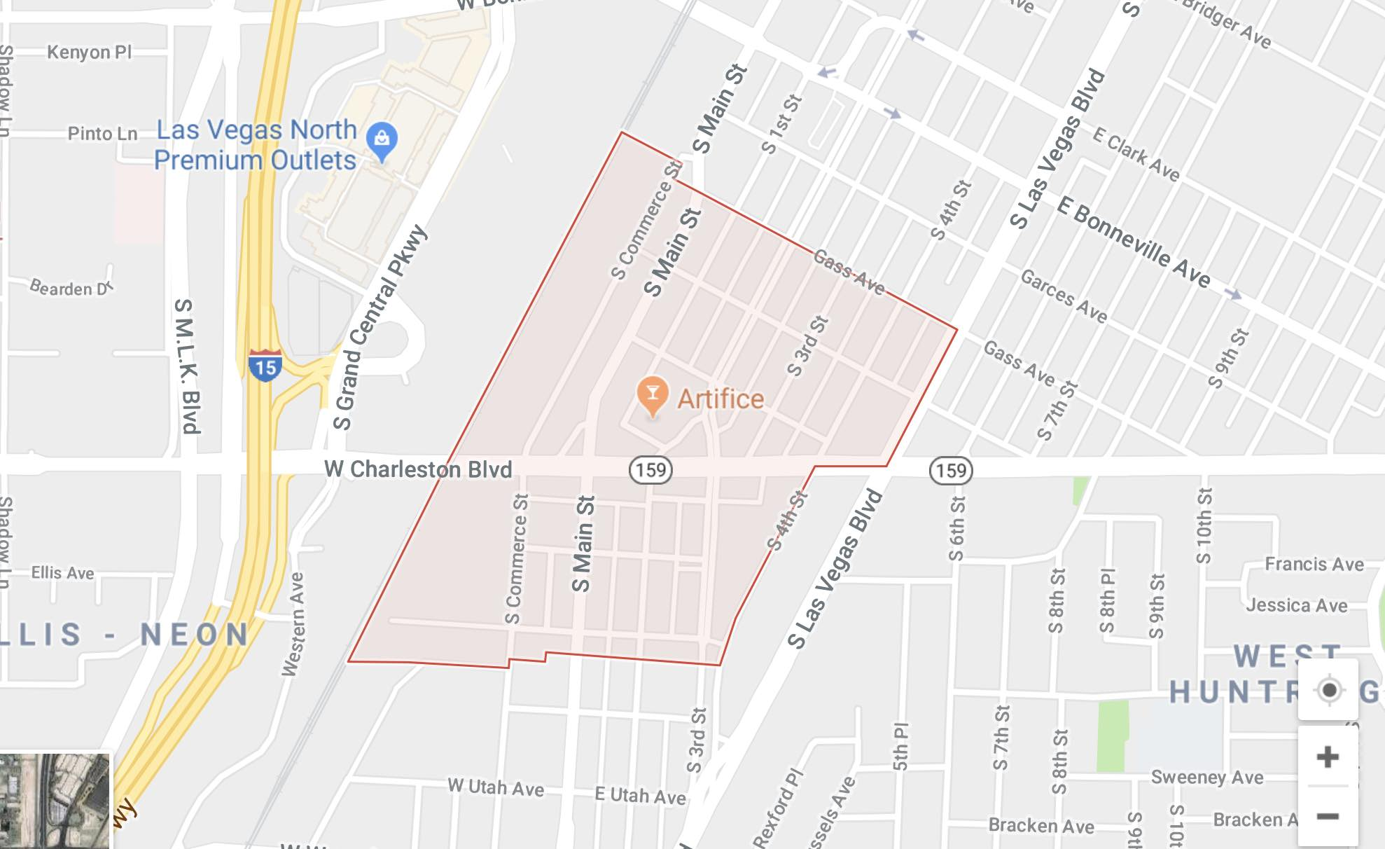 Map of the Las Vegas Arts District