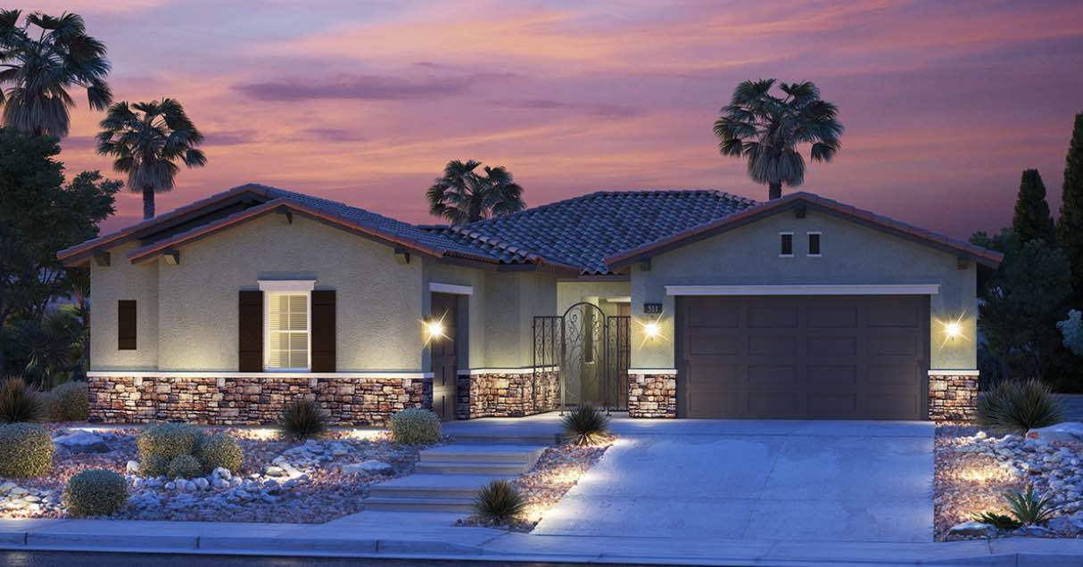 Single Story House is a new construction model by Lennar in the North Creek Neighborhood. Sunset and house is lit.