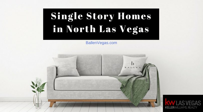 grey couch and green blanket are in a simple living room. Banner reads single story homes in north las vegas