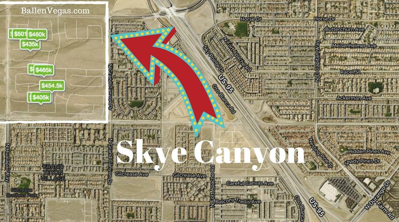 Map of Las Vegas showing the northwest corner where skye canyon is located