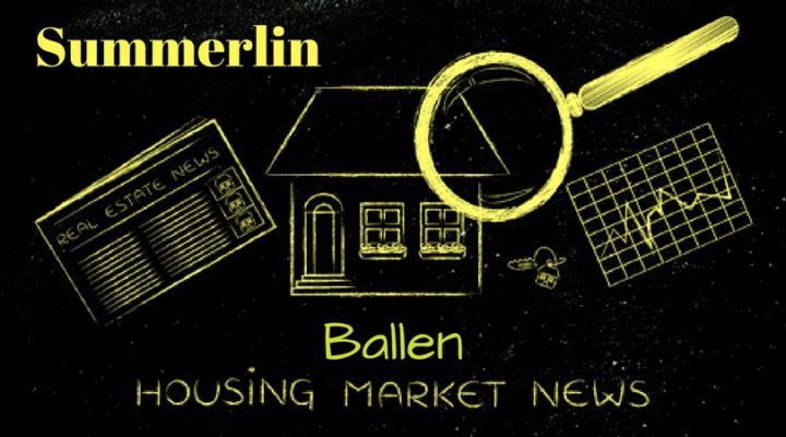Black background with yellow chalk drawijngs of a house, newspaper, and magnifying glass. Reads Summerlin Housing Market News with BALLEN on top