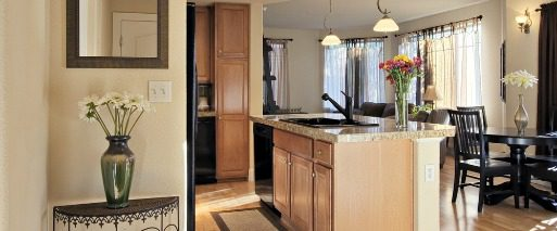 example of Las Vegas condo kitchen and dining room in tan