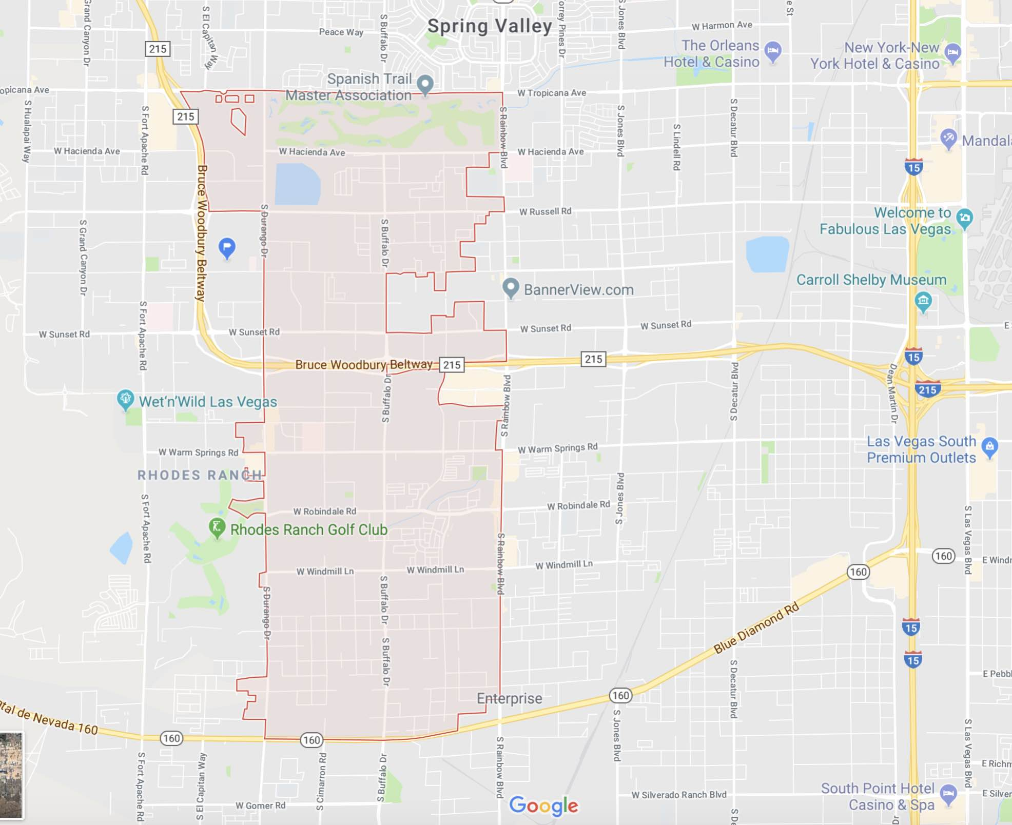 Google Map showing the boundaries of Southwest Las Vegas Zip Code 89113