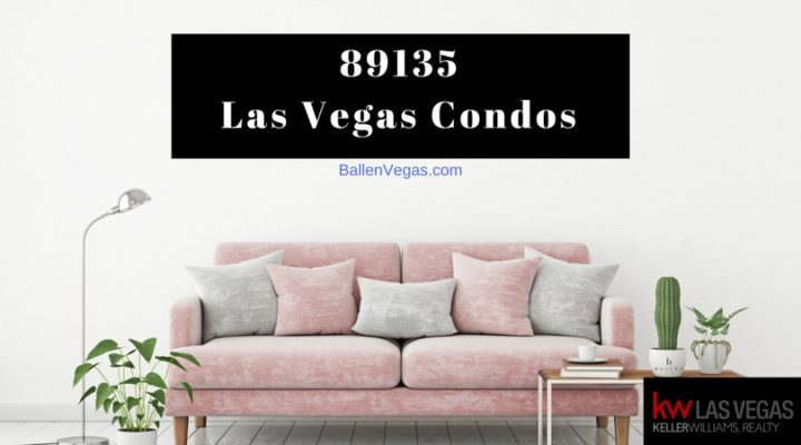Pink Couch with grey and pink pillows, sign on the wall spells out 89135 las vegas condos Ballenvegas.com