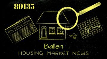 Black background, flourescent Yellow, house with magnifying glass over it and charts, words spell out 8915 ballen housing market