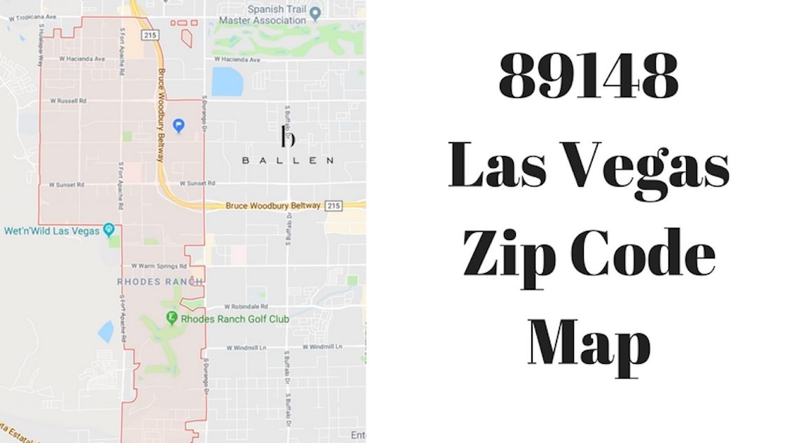 89148 Las Vegas Zip Code Map is written on a split screen image with the city outline and 89148 boundaries outlined