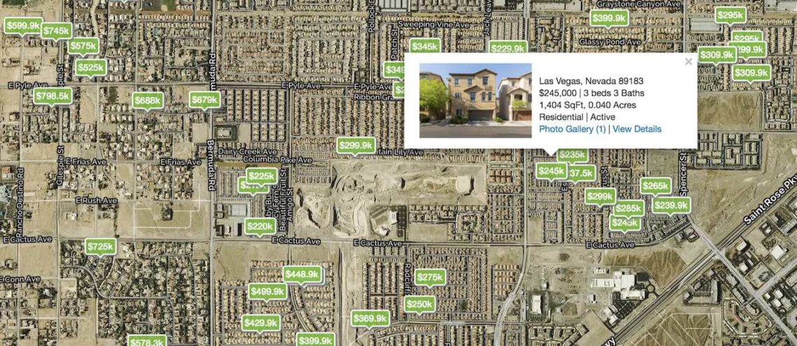 Las Vegas City Map with streets showing homes with prices in the zip code 89183