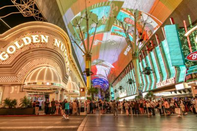 Fremnt Street at night with Golden Nugget Casino lit up
