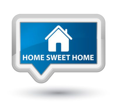 A little pop up icon is blue, white borders, and words say home sweet home for the blog