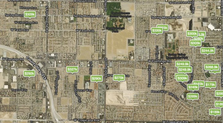 Map of the Las Vegas Zip Code 89147 showing homes for sale with prices pinned on the map and no hoa