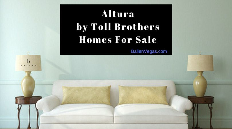 White Couch, Gold Pillows, Lamps with Ballen Vegas real Estate logo, banner has words that spell out alutura by toll brothers homes for sale