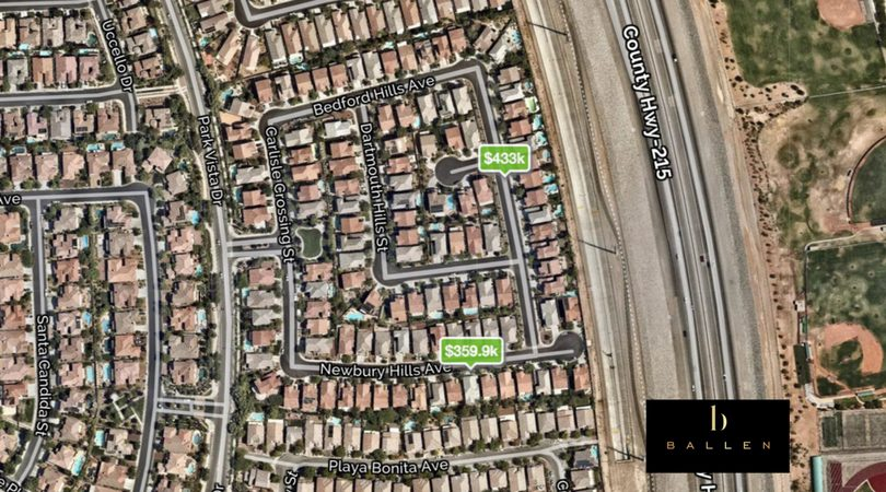 Map of pinned homes for sale with prices in Ashton Park at The Vistas in Summerlin