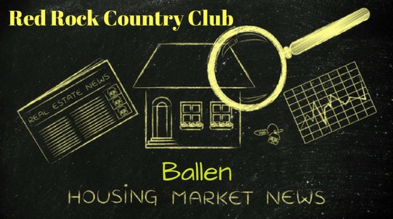 Blackboard and yellow glowing color of font with pic of a house, magnifying glass, newspapers and the words Ballen Housing Market News and Red Rock Country Club