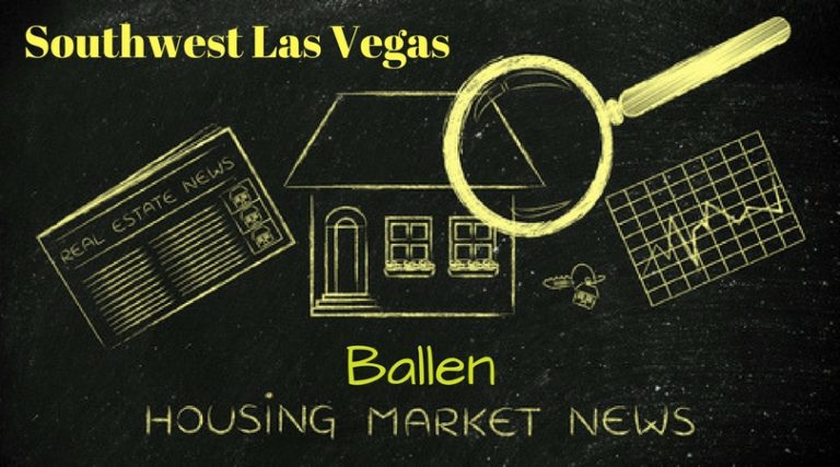 Black Background, bright yellow drawings of a house, magnifying glass, spreadsheet, and words spell out southwest las vegas ballen housing market news