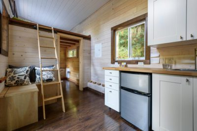 kitchen and living room in a tiny house