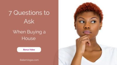 """Young woman has her hand on her chin and looks like she is wondering something, words next to her are """"7 questions to ask when buying a house"""""""