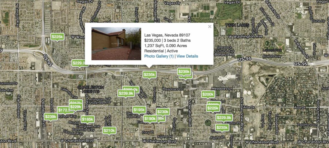 A Las Vegas City Map with green prices of home listings in 89107