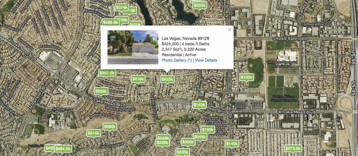 Homes for Sale in 89128 pinned on a Las Vegas City Map