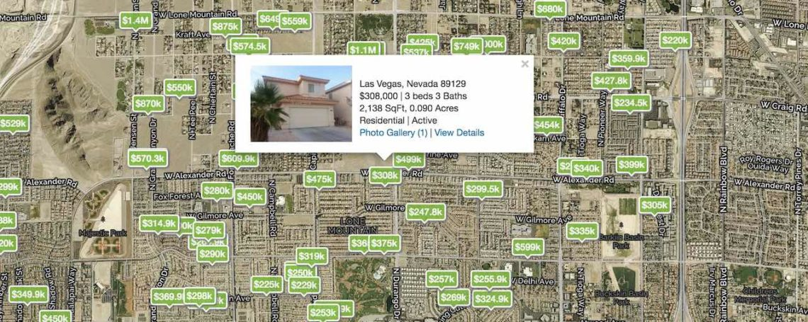 Homes with prices are selected on a map of las vegas featuring the 89129 zip code