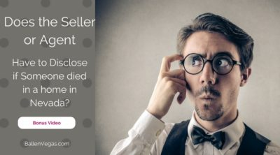 Man wearing glasses has his index finger to his forhead like he is wondering aobut something. Words next to him spell out the question does the seller or agent have to disclose if someone died in a home