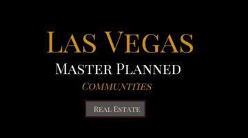 Black Background Banner with Las Vegas written in gold, then master planned in white, communities in gold and a button that spells out the words real estate