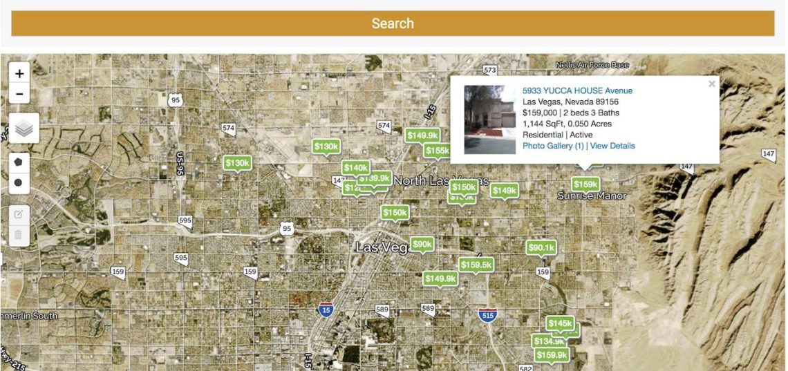 Las Vegas Houses For Sale are pinned on a map with prices and details