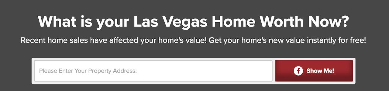 Form that offers a Las Vegas Home Value