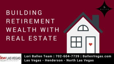 Icon of a house with letters that spell out the words BUILDING RETIREMENT WEALTH WITH REAL ESTATE