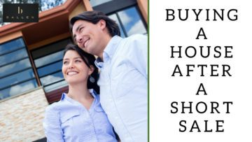 Couple is smiling and looking over at the new house they bought. Words next to them read buying a house after a short sale