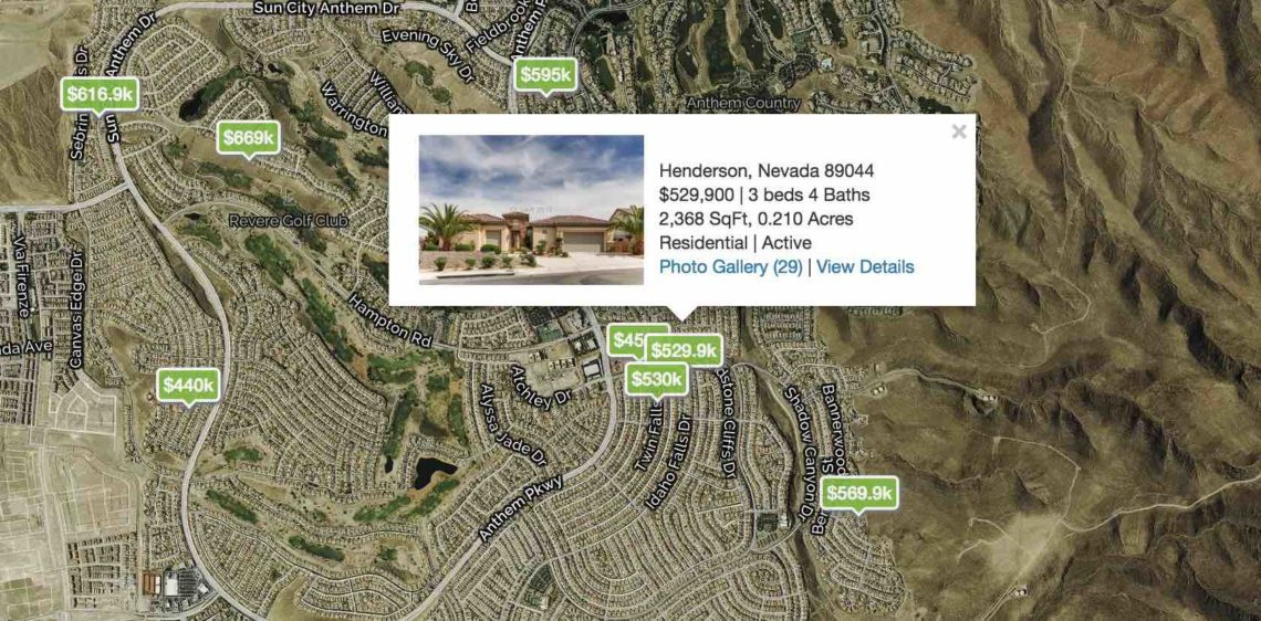 City Map of Henderson with homes pinned on the map with a price filtered by only those with a guest quarters