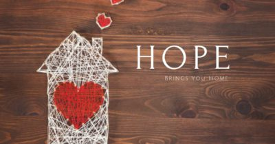 House with a heart next to the words hope brings you home