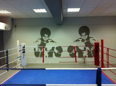 A boxing ring inside a gym