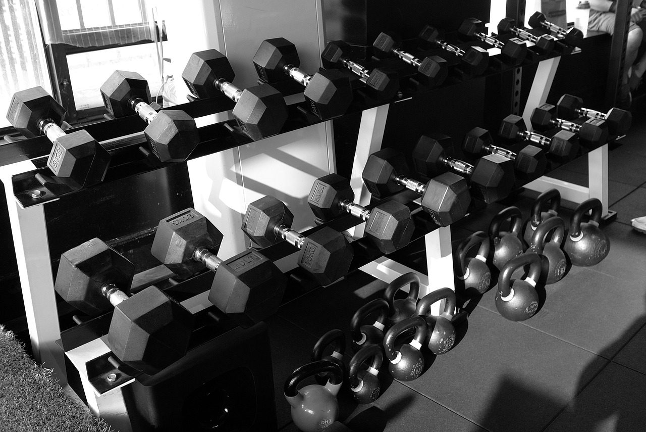 A long row of barbells and other weights.