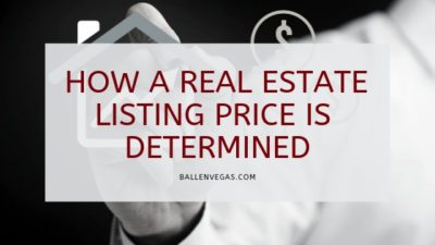 How a real estate lissting price is determined is spelled out on a black background where a man in a white shirt is holding up a house with a price tag