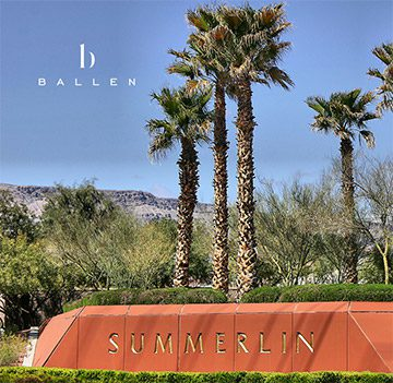 Summerlin Sign and Trees with Ballen Homes Logo