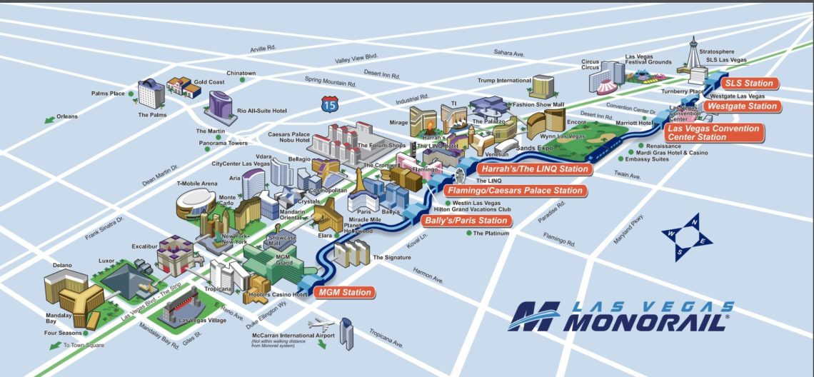 Monorail Map shows going up and down the strip