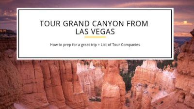 A Picturesque Grand Canyon is in the background with the letters spelling out the words tour grand canyon from Las Vegas
