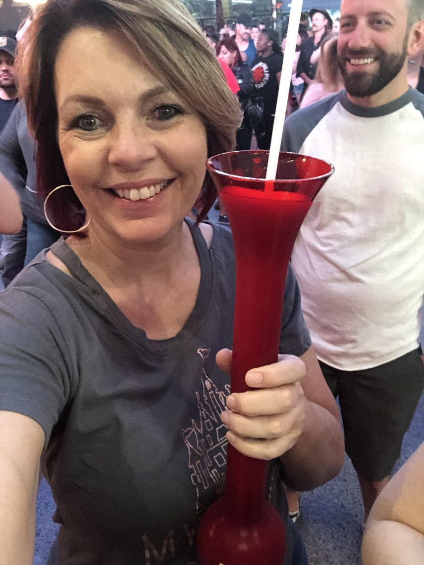 Once we got over to Fremont street to enjoy the free concert, we enjoyed our giant frozen pina coladas and appreciated the zip liners whizzing by over our heads superman style as they departed the Sloztilla Zip Line.