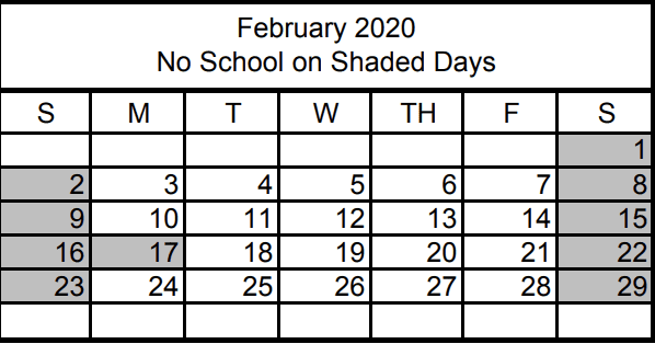 No School February 17th, 2020 for Presidents Day Valentines Day 2020 is on Friday, February 14th, School is in session Groundhog Day is Sunday, February 2nd, 2020