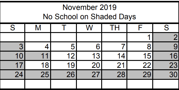 No School Monday November 11th - Veterans Day No School Monday the 25th - Friday 29th Thanksgiving (plus weekends!)
