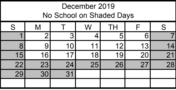 No School December 23rd through December 31st for Winter Break (See January for more)